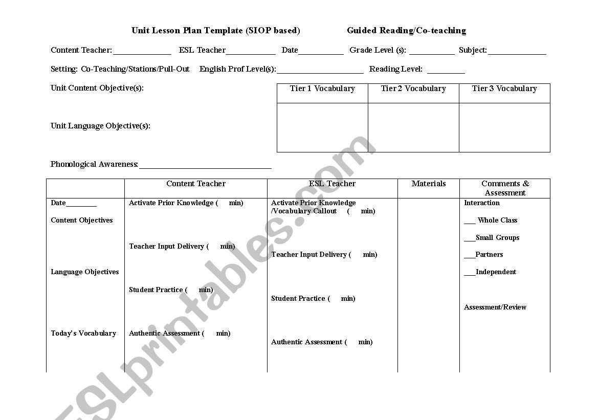 sheltered instruction observation protocol lesson plan template