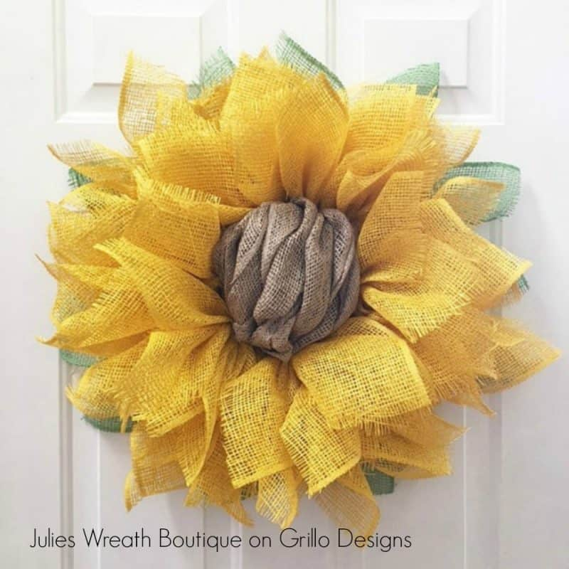 instructions on how to make a burlap sunflower wreath