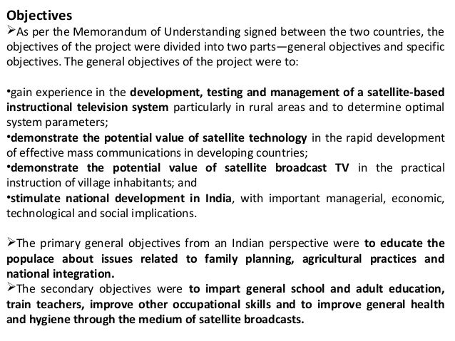 satellite instructional television experiment objectives