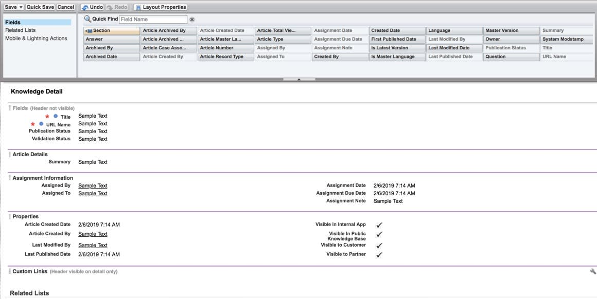 salesforce enter instructions on page layout