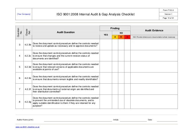 work instruction and checklist iso 9001